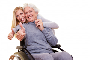 lady and patient showing their thumbs up